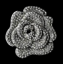 Wholesale Elegant Flower Brooch Pin - Elegant Sparkly Full Rhinestone Crystal Diamante Wedding bridal Large Rose Flower Brooch Pin Party prom Gift Accessory