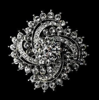 Broche de diamantes de talla brillante de diamantes de imitación de estilo vintage de 2