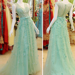 Wholesale Elie Saab Dress Sample - Real Sample V-neck Illusion Cover Back A-line Tulle Exquisite Flowers Beaded Elie Saab Evening Dresses 2015