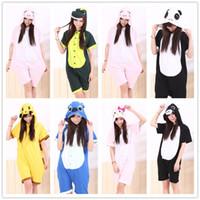 Wholesale unisex adult kigurumi animal for sale - Cartoon Animal Unisex Adult Onesies Summer Pajamas Kigurumi Jumpsuit Hoodies Sleepwear Cosplay For Adults Welcome Order