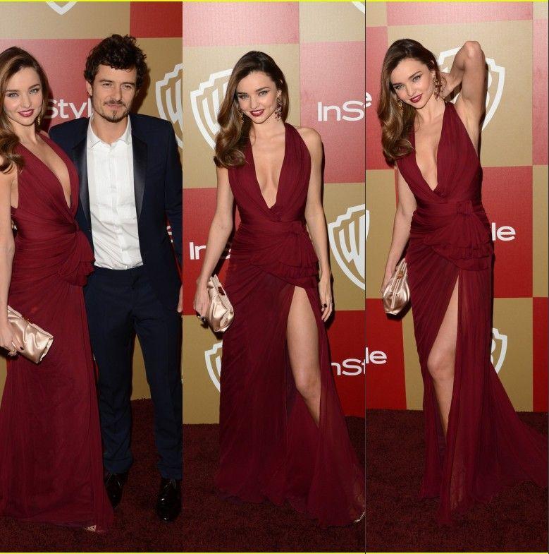 Red Carpet Dresses Miranda Kerr Golden Globe Evening Dresses Halter ...