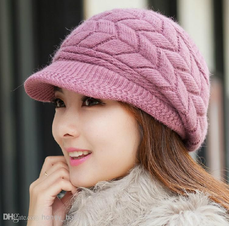 2017 Autumn Winter Girls Knitted Cap Rabbit Fur Cap Peaked