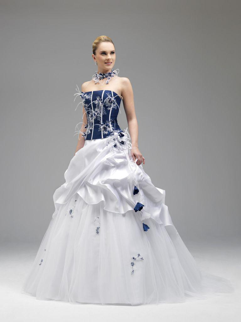 Discount Annie Couture 2014 Royal Blue And White Wedding Dresses