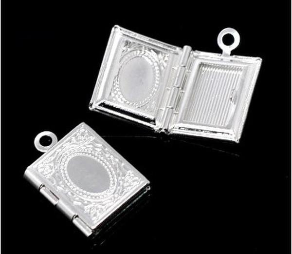 Pingentes de medalhão de ajuste de retângulo de quadro de foto banhado a prata 17 x 12 mm