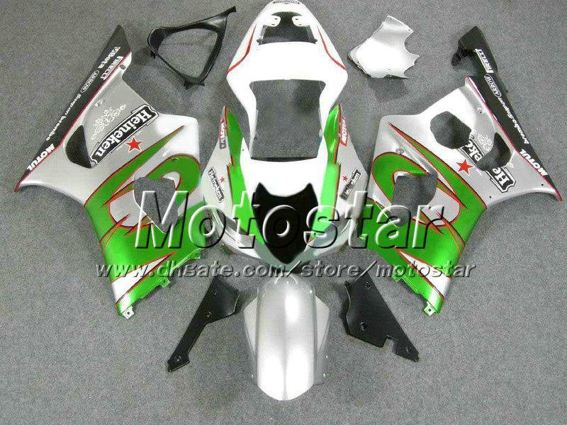 Motorcycle fairing kit for SUZUKI GSX-R1000 K3 03 04 GSXR 1000 2003 2004 GSX R1000 green silver black freeship fairings bodykits Gy4