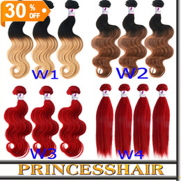 Wholesale Ombre Hair 5a - Brazilian Ombre Hair Weave Extensions Body Wave And Straight 3 Bundles Mix Length Virgin 5A Hair Weft Fast Delivery