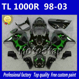Wholesale Custom Tl - 7 Gifts Custom motorcycle fairings for SUZUKI TL1000R 98-03 green flame in black fairing kit TL 1000R 1998 1999 2000 2001 2002 2003 Ny5