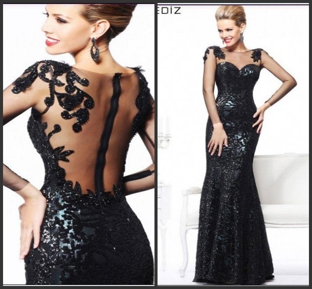 2015 Sexy Long Sleeve Black Mermaid Evening Dress For