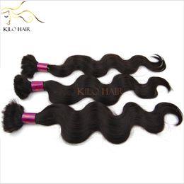 Braiding Hair Human Free Shipping NZ - 100% Virgin Human Hair Bulk Malaysian Mix Length 4pcs lot 12inch to 28inch Wholesale Body Wave Braiding Hair for Full Head FREE SHIPPING