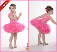 Wholesale Smart Bead Ball - Smart Beadings Little Girls Pageant Dresses Princess Spaghetti Ball Gown Short Zipper Tulle Sleeveless Pink Flower Girls' Dresses