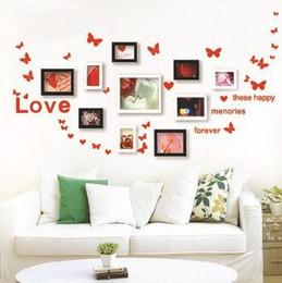 Wholesale Quote Framed Art - Butterflies decoration for PHOTO FRAME Vine Quote Love Removable Wall Stickers Decal Wallpaper Nursery kids room