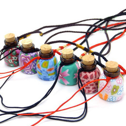 Wholesale Glass Bottles For Necklaces - 2ml Fashion Flower Painting Polymer Clay Perfume Pendant MINI Glass Scented Bottle Gift for Girls 10pcs lot DC650