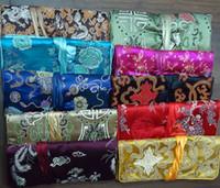 rulo seyahat ipek kuyumcu çantası toptan satış-lot tarafından satılan Kadın Büyük Takı Rulo Seyahat Çantası, Çin İpek Nakış Ambalaj Torbalar, Mix Renk, (10pcs / lot)