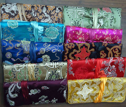 Wholesale Silk Jewelry Pouches Large - Women Large Jewelry Roll Travel Storage Bag, Chinese Silk Embroidery Packaging Pouches, Mix Color, sold by lot (10pcs lot)