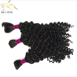 Wholesale Micro Wave Hair Extensions - Deep Wave Brazilian Hair Extensions Human Bulk Hair Mix Length 4pcs lot 12inch to 28inch 400g for a full head Micro Braids Hair FREE DHL