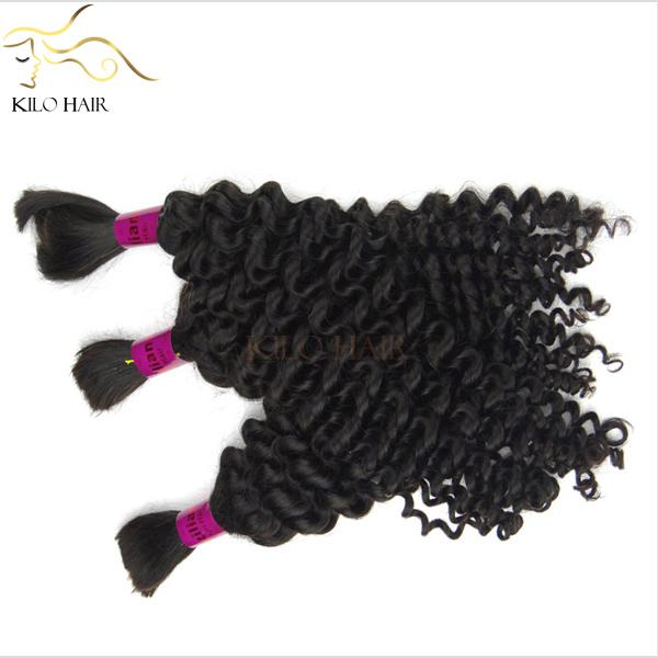 Deep Wave Brazilian Hair Extensions Human Bulk Hair Mix Length 4pcs lot 12inch to 28inch 400g for a full head Micro Braids Hair FREE DHL