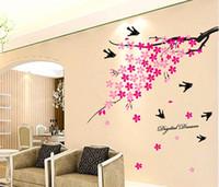 Wholesale Sakura Flower Decal - Pink Flower Sakura & Swallow Tree 3D Wall Decal Sticker Home Decor 47''