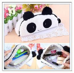 Wholesale Pen Case Panda - 3D Panda Student Girl Boy Pencil Box Pen Case Cosmetic Makeup Bag Pouch White