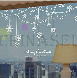 Free Ship Christmas New Year Snowflake Ring Wall Stickers