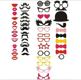 Wholesale Glasses Props For Photo Booth - New Design 50 Styles Funny Photo Booth Props Lips Moustaches Glasses Hat on Sticks for Wedding and Party Shoot Props Decoration