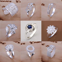 Wholesale Sterling Dragon Ring - Free Shipping Mixed Order Multi Styles 925 Sterling Silver Hearts Crossover Dragon Pave Rings #FR105