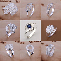 Wholesale Mixed Order Multi Styles Sterling Silver Hearts Crossover Dragon Pave Rings FR105