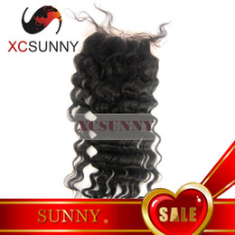 China Hot Sale 8-20 Inch Deep Wave 100% Brazilian Virgin Remy Human Hair Top Part Silk Based Lace Closure 4*4 BLC002 suppliers