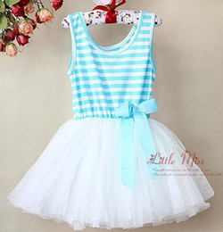 Wholesale Rainbow Tutus For Girls - Fedex EMS shipping Girls Colorful Rainbow striped Dress For summer Kids striped with bow Flower Dress Party Dresses evening Tutu dresses
