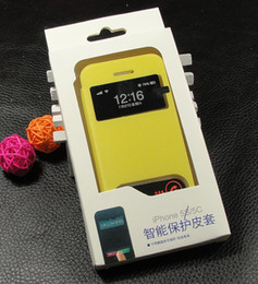 Wholesale Yellow Case For Iphone5c - Luxury leather Case For iPhone 5 5c 5s + 2 window Design For iPhone5c need not open case get phone Free Shipping
