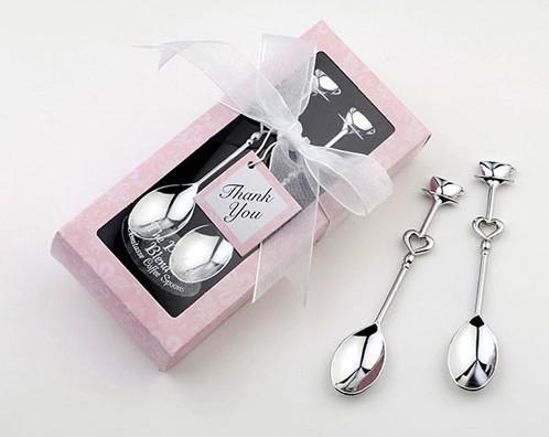 Al por mayor - Envío gratis - Teatime favores de la boda Love Beyond Medición Cucharas medidoras en cuchara de regalo / café 2 piezas / set estilo delgado