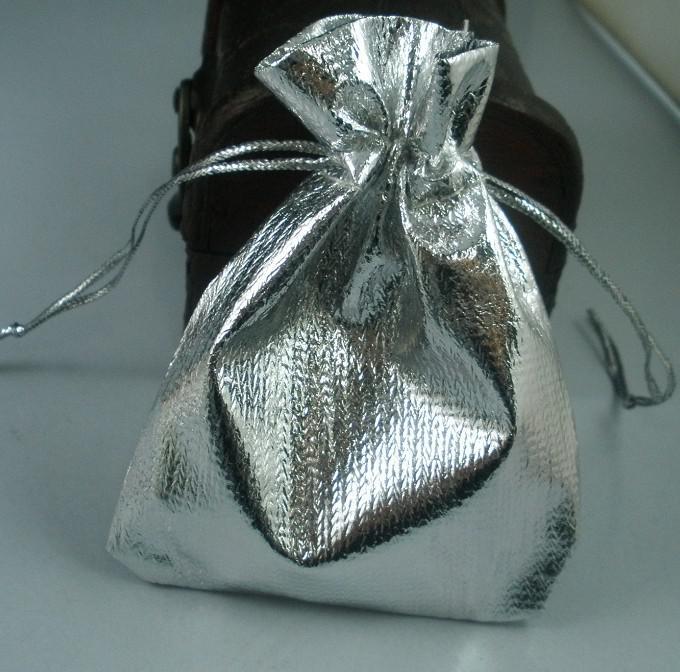 MIC 100 Silverpläterade Gaze Smycken Väskor 7x9cm Smycken Presentpåse Väskor för bröllop favoriserar med dragsko B50