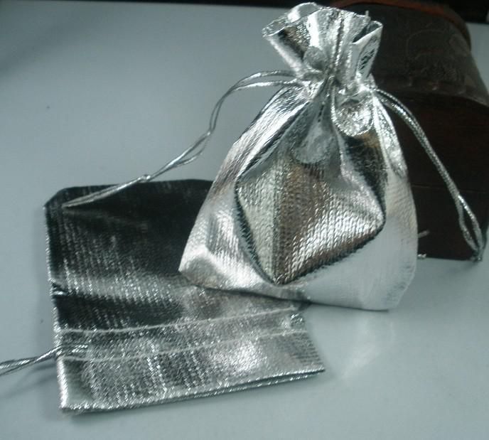 MIC 100 Versilbert Gaze Schmuck Taschen 7X9 cm Schmuck Geschenk Tasche Taschen Für Hochzeit favorisiert Mit Kordelzug b50