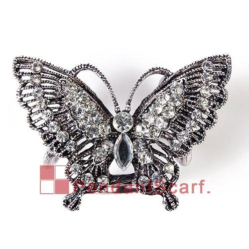 12 UNIDS / LOTE Top Fashion DIY Collar Colgante Bufanda Accesorios de Aleación Mental Rhinestone Tres Agujeros Mariposa Colgante, Envío Gratis, AC0224