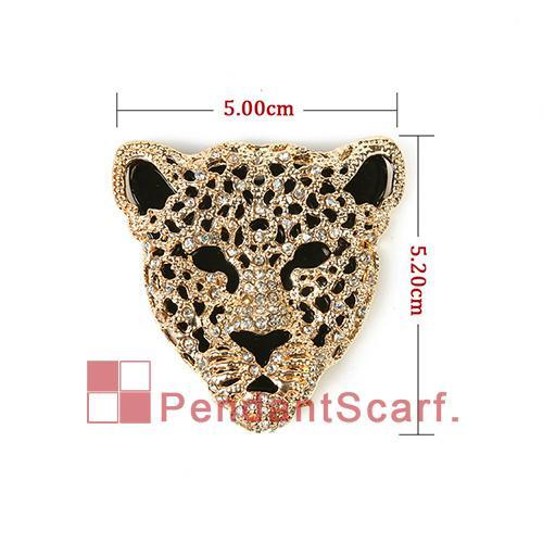 Hot Fashion DIY Necklace Jewelry Scarf Findings Mental Alloy Golden Rhinestone Leopard Tiger Head Pendant, AC0238B