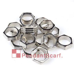 Wholesale 100PCS New Design DIY Necklace Jewelry Scarf Accessories Silver Plated Hexagon Shape Charm Plastic CCB Rings AC0248A