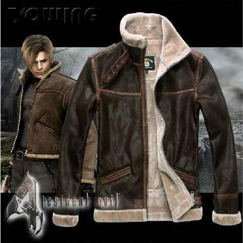 RE4 RESIDENT EVIL 4 IV LEON KENNEDY PU Faux JACKET DE PIEL DE CUERO Todos los trajes de cuero de gran tamaño Escudo de manga larga DHL