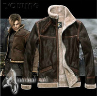 Wholesale Leopard Costume Xl - RE4 RESIDENT EVIL 4 IV LEON KENNEDY PU Faux LEATHER FUR JACKET All Size Leather Costumes Long-sleeve Coat DHL Free Shipping