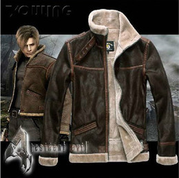 Wholesale Men Jacket Dhl - RE4 RESIDENT EVIL 4 IV LEON KENNEDY PU Faux LEATHER FUR JACKET All Size Leather Costumes Long-sleeve Coat DHL Free Shipping