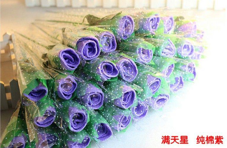 結婚式の好意ギフトロマンチックなローズフラワーケーキタオル20 * 20cmスクエアタオル100%コットンタオル