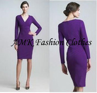 Wholesale Dress Autunm - Free shipping Autunm Winter Spring,Newest Classical Noble V-neck Full Sleeve Knee-length Stretch Slim Pencil Party Women Dress Free Shipping