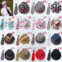 ingrosso ragazzi jazz cappelli-Cappello trilby fedora casual unisex con cravatta Cappello fedora da bambina con federa da collo Cappello da baseball per bambini 10 pezzi