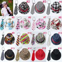 Wholesale Jazz Neck - Unisex casual fedora trilby hat with necktie Boys girls fedoras with neck tie set Children top hat Jazz cap 10set