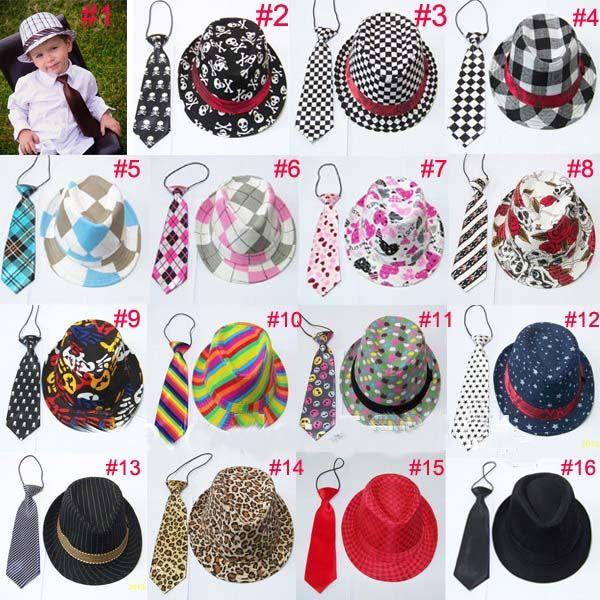 Unisex Casual Fedora Trilby Hut mit Krawatte Jungen Mädchen Fedoras mit Krawatte Set Kinder Top Hut Jazz Cap 10set