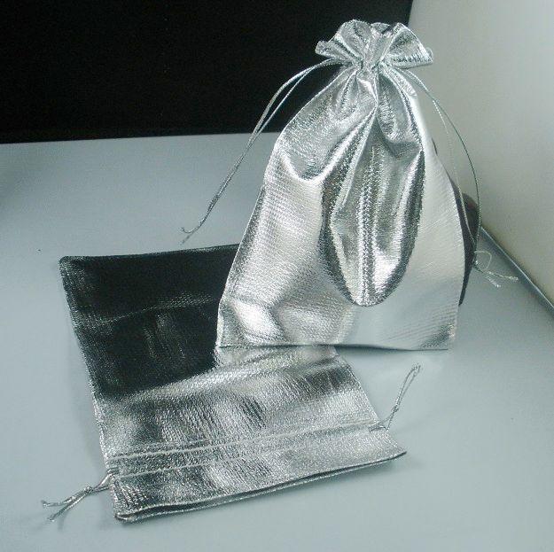 Caliente ! Bolsos plateados plata de la gasa de la joyería Bolsos de la bolsa del regalo de la joyería para los favores de la boda con el cordón 7x9cm / 9x12cm / 11x16cm / 13x18cm b52