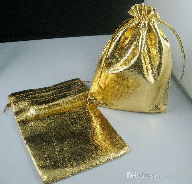 ホット ! 100個の金メッキガーゼジュエリーバッグ11x16cmジュエリーギフト袋袋の描画のための袋袋(B53)