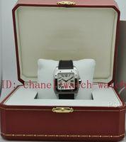 vendeur de boîte de montre achat en gros de-Usine Vendeur 100 XL en acier inoxydable cadran noir Mens automatique montres en cuir bande de sport hommes poignet montres boîte papiers