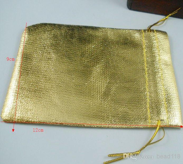 ¡Caliente vendido! 100 piezas chapado en oro de gasa bolsos de la joyería 9x12 cm bolsa de regalo de la joyería bolsas para favores de la boda con cordón b54