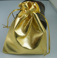 Wholesale Hot Sell Favors - Hot sold ! 100 Pcs Gold Plated Gauze Jewelry Bags 9x12 cm Jewelry Gift Pouch Bags For Wedding favors With Drawstring (b54)