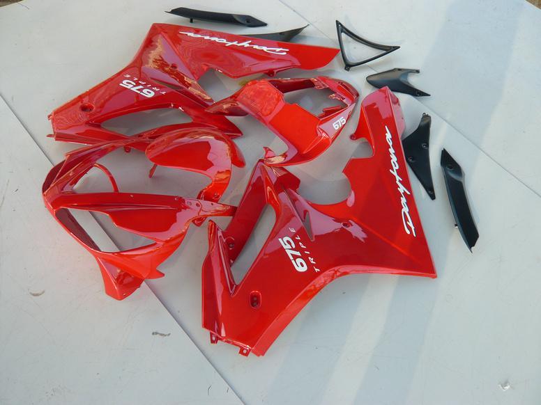 Kit de carénage pour TRIUMPH DAYTONA 675 Daytona 675 2006 2008 Daytona675 05 06 07 08 09 10 Kit carénages rouge + 7 cadeaux TM55
