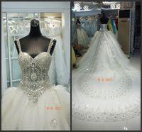 Wholesale Swarovski Rhinestone Silver Balls - Free Petticoat Luxury New Actual Image SWAROVSKI Bling Bling rhinestones cathedral train Wedding Dress Bridal Gown Bride Dresses